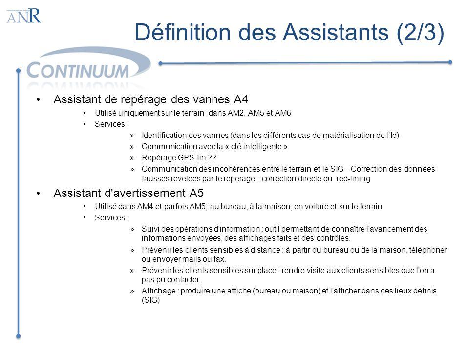 Définition des Assistants (2/3) Assistant de repérage des vannes A4 Utilisé uniquement sur le terrain dans AM2, AM5 et AM6 Services : »Identification