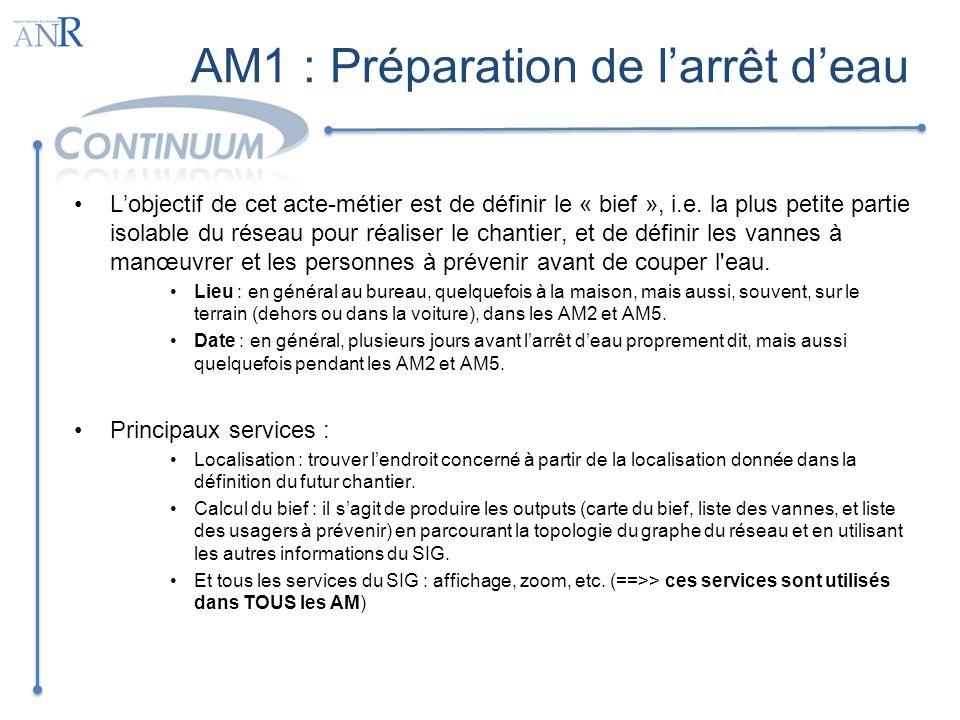 AM2 : Repérage Lobjectif de cet acte-métier est de vérifier sur le terrain, à partir des données issues de la préparation, que larrêt deau sera possible; et de marquer physiquement sur le terrain les indications qui vont faciliter les AM5 et AM6.