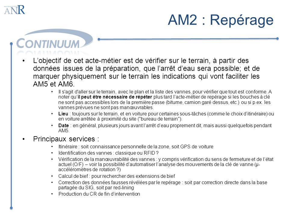 AM4 : Information et Affichage Il sagit dinformer de larrêt deau la municipalité et tous les consommateurs, plus spécialement les pompiers, hôpitaux, clients sensibles Lieu : pour prévenir , à partir du bureau, ou de la maison, à partir du terrain, ou de la voiture quand c est un recyclage au cours de AM5.