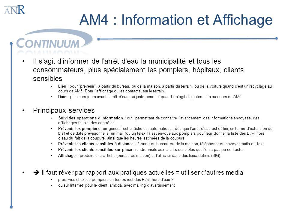 AM4 : Information et Affichage Il sagit dinformer de larrêt deau la municipalité et tous les consommateurs, plus spécialement les pompiers, hôpitaux,