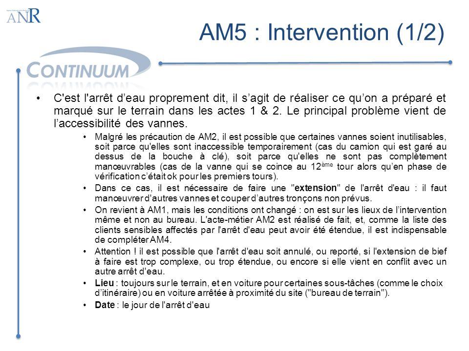 AM5 : Intervention (2/2) Principaux services Suivi des opérations d arrêt d eau : outil permettant de connaître l avancement de l arrêt d eau = vannes manœuvrées, extensions faites, vérification de l arrêt des écoulements et de la vidange des canalisations, etc.