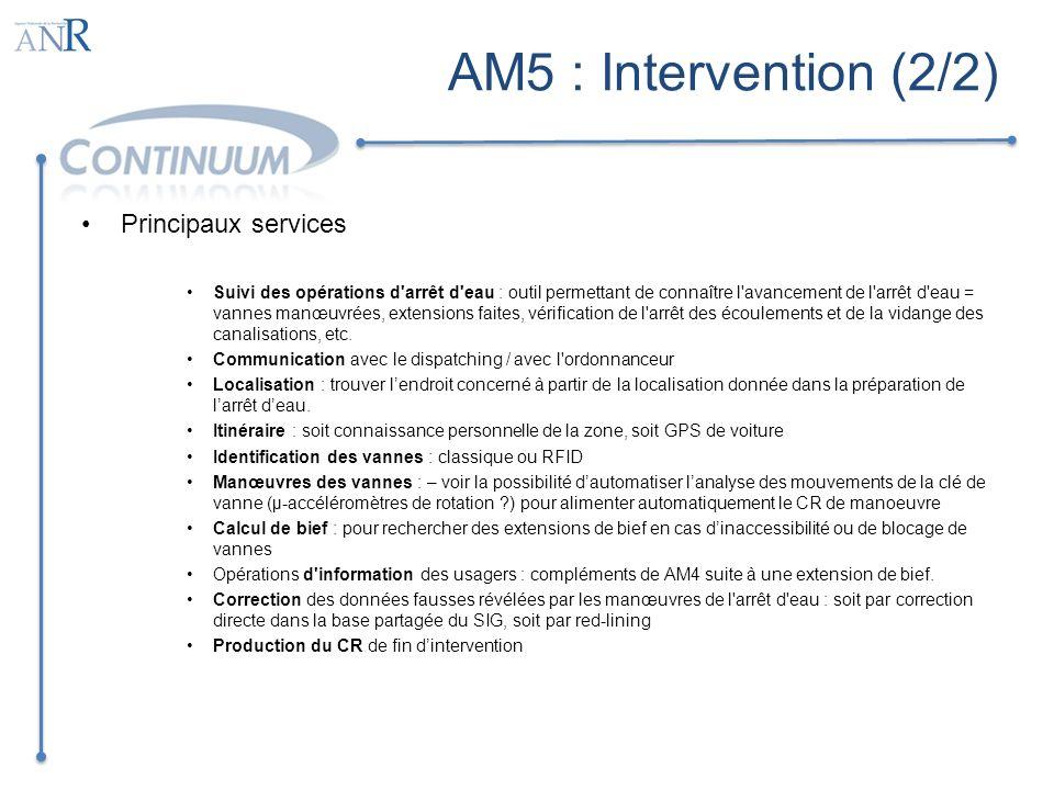 AM5 : Intervention (2/2) Principaux services Suivi des opérations d'arrêt d'eau : outil permettant de connaître l'avancement de l'arrêt d'eau = vannes