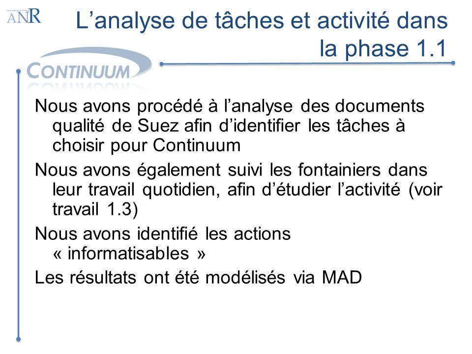 Lanalyse de tâches et activité dans la phase 1.1 Nous avons procédé à lanalyse des documents qualité de Suez afin didentifier les tâches à choisir pou