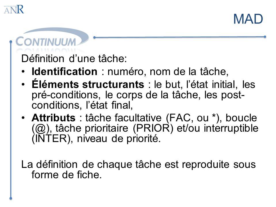 MAD Définition dune tâche: Identification : numéro, nom de la tâche, Éléments structurants : le but, létat initial, les pré-conditions, le corps de la