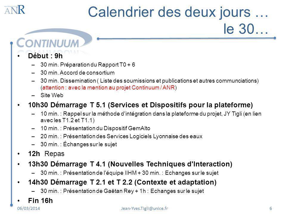 Calendrier des deux jours … le 30… Début : 9h –30 min. Préparation du Rapport T0 + 6 –30 min. Accord de consortium –30 min. Dissemination ( Liste des