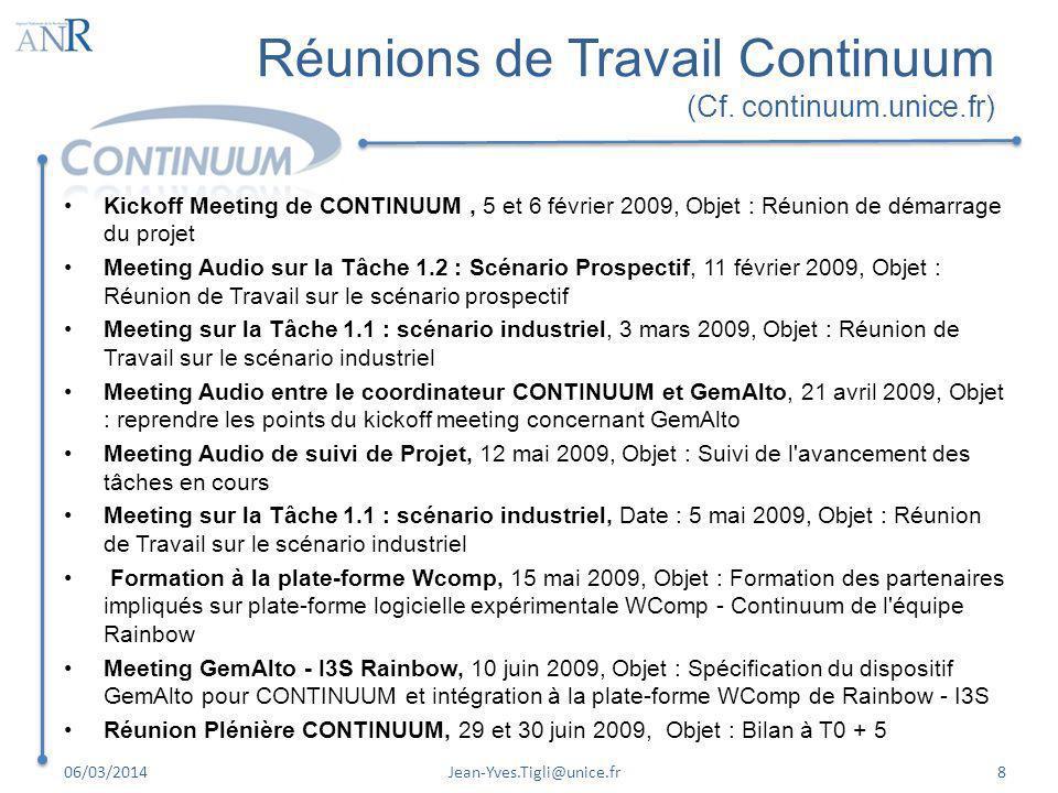 Réunions de Travail Continuum (Cf. continuum.unice.fr) Kickoff Meeting de CONTINUUM, 5 et 6 février 2009, Objet : Réunion de démarrage du projet Meeti