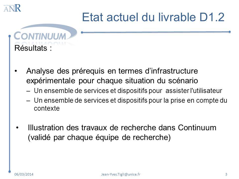 Etat actuel du livrable D1.2 Résultats : Analyse des prérequis en termes dinfrastructure expérimentale pour chaque situation du scénario –Un ensemble