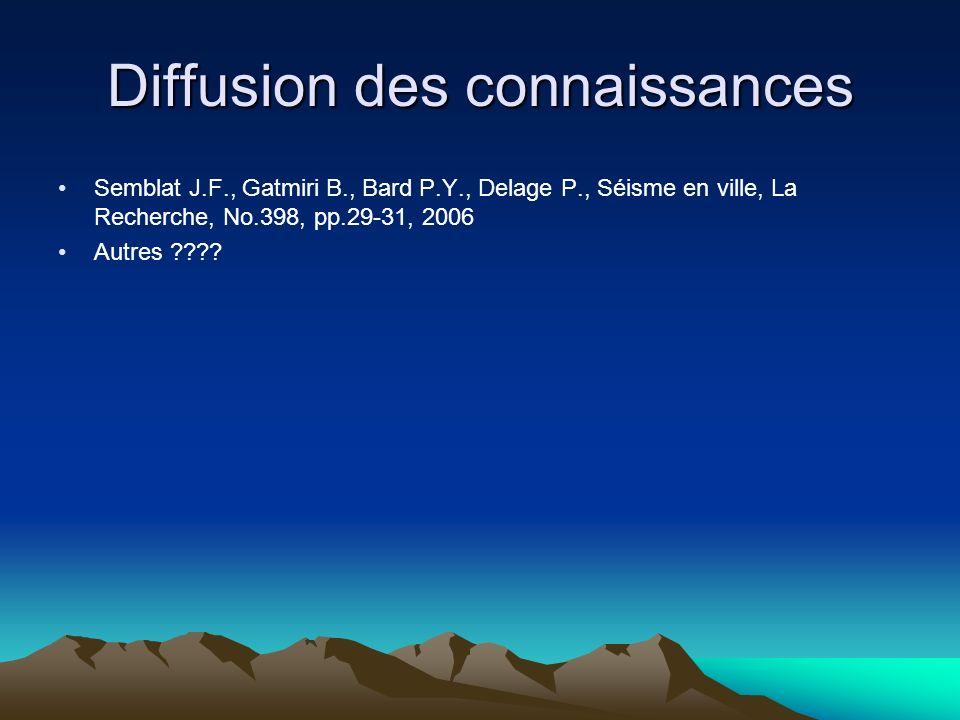 Diffusion des connaissances Semblat J.F., Gatmiri B., Bard P.Y., Delage P., Séisme en ville, La Recherche, No.398, pp.29-31, 2006 Autres ????