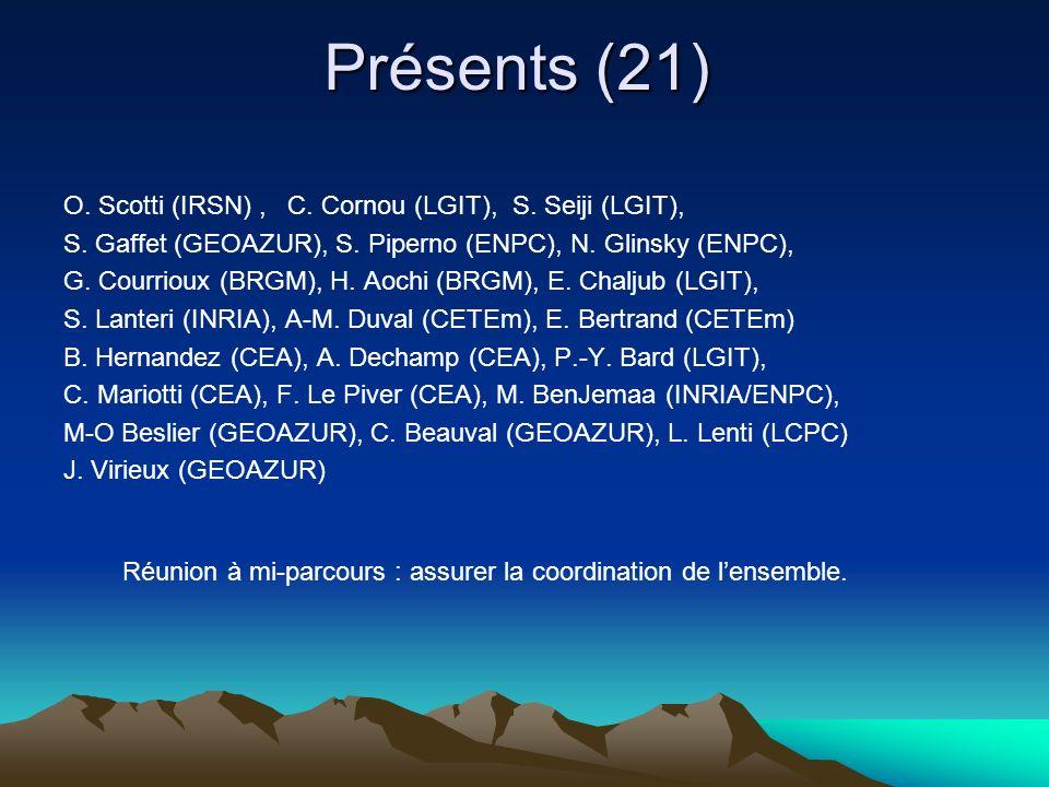 Présents (21) O. Scotti (IRSN), C. Cornou (LGIT), S. Seiji (LGIT), S. Gaffet (GEOAZUR), S. Piperno (ENPC), N. Glinsky (ENPC), G. Courrioux (BRGM), H.