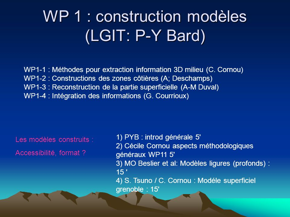 WP 1 : construction modèles (LGIT: P-Y Bard) WP1-1 : Méthodes pour extraction information 3D milieu (C. Cornou) WP1-2 : Constructions des zones côtièr