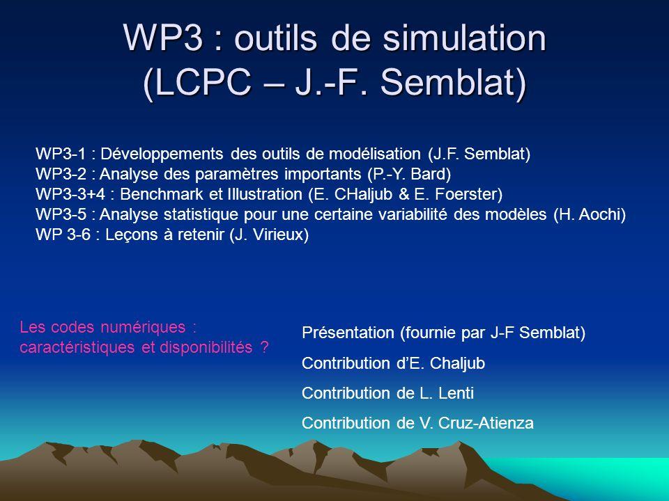 WP3 : outils de simulation (LCPC – J.-F. Semblat) WP3-1 : Développements des outils de modélisation (J.F. Semblat) WP3-2 : Analyse des paramètres impo