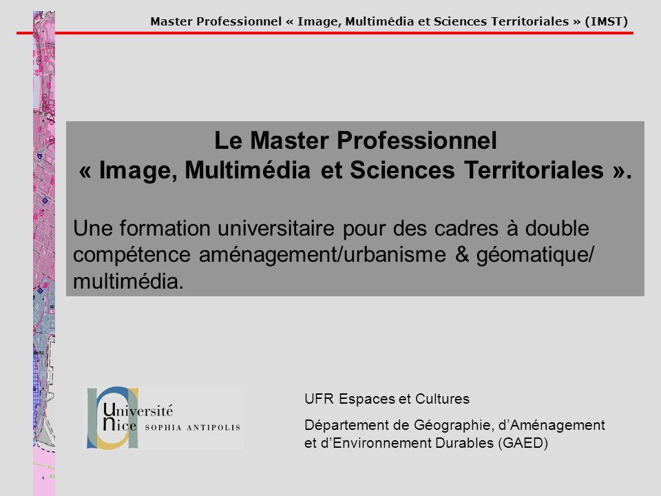 Master Professionnel « Image, Multimédia et Sciences Territoriales » (IMST) UFR Espaces et Cultures Département de Géographie, dAménagement et dEnviro
