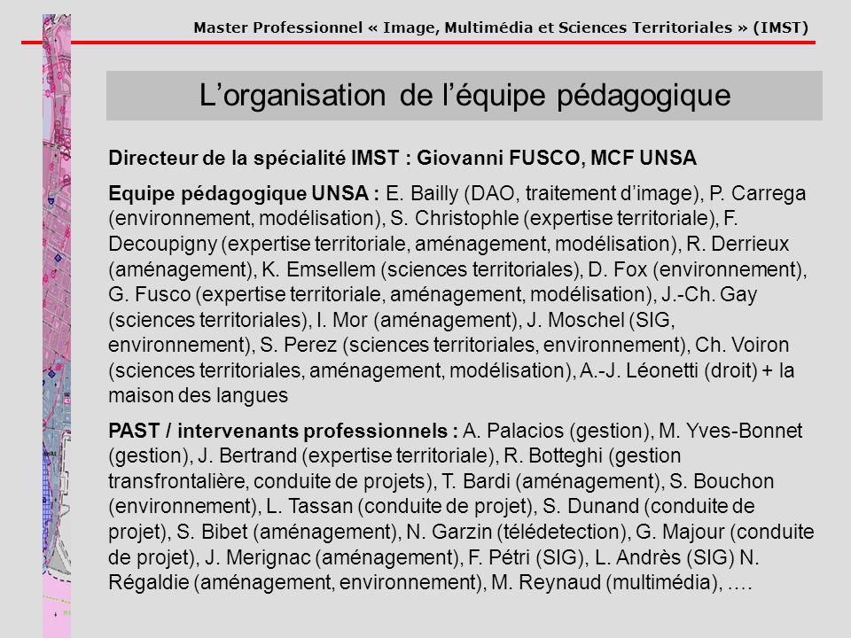 Master Professionnel « Image, Multimédia et Sciences Territoriales » (IMST) Lorganisation de léquipe pédagogique Directeur de la spécialité IMST : Gio