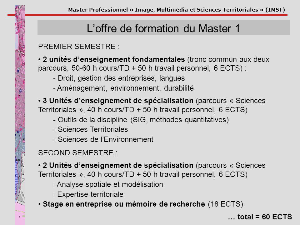 Master Professionnel « Image, Multimédia et Sciences Territoriales » (IMST) Loffre de formation du Master 1 PREMIER SEMESTRE : 2 unités denseignement