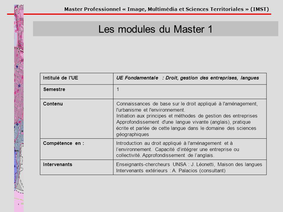 Master Professionnel « Image, Multimédia et Sciences Territoriales » (IMST) Les modules du Master 1 Intitulé de l'UEUE Fondamentale : Droit, gestion d
