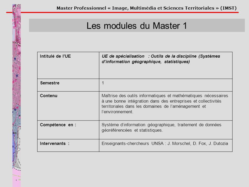 Master Professionnel « Image, Multimédia et Sciences Territoriales » (IMST) Les modules du Master 1 Intitulé de l'UEUE de spécialisation : Outils de l