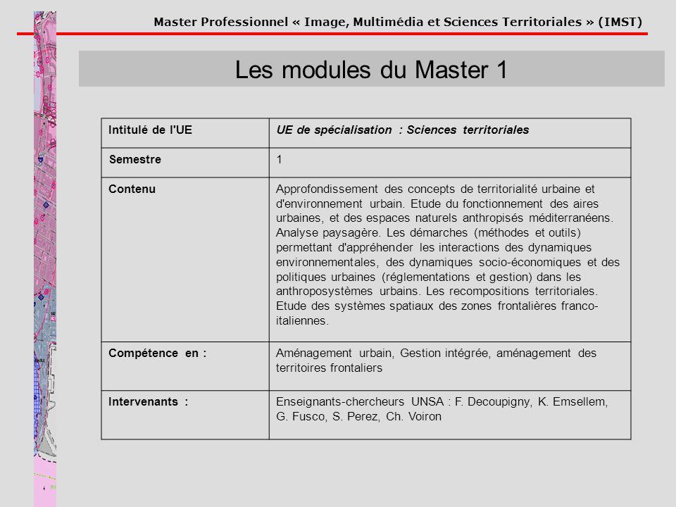 Master Professionnel « Image, Multimédia et Sciences Territoriales » (IMST) Les modules du Master 1 Intitulé de l'UEUE de spécialisation : Sciences te