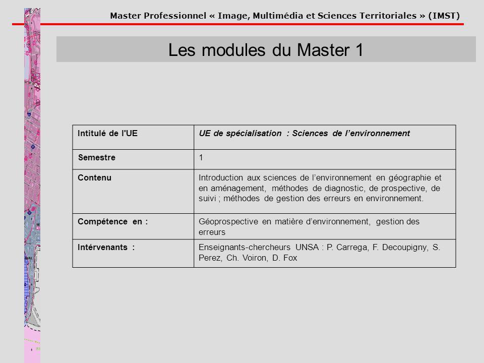 Master Professionnel « Image, Multimédia et Sciences Territoriales » (IMST) Les modules du Master 1 Intitulé de l'UEUE de spécialisation : Sciences de