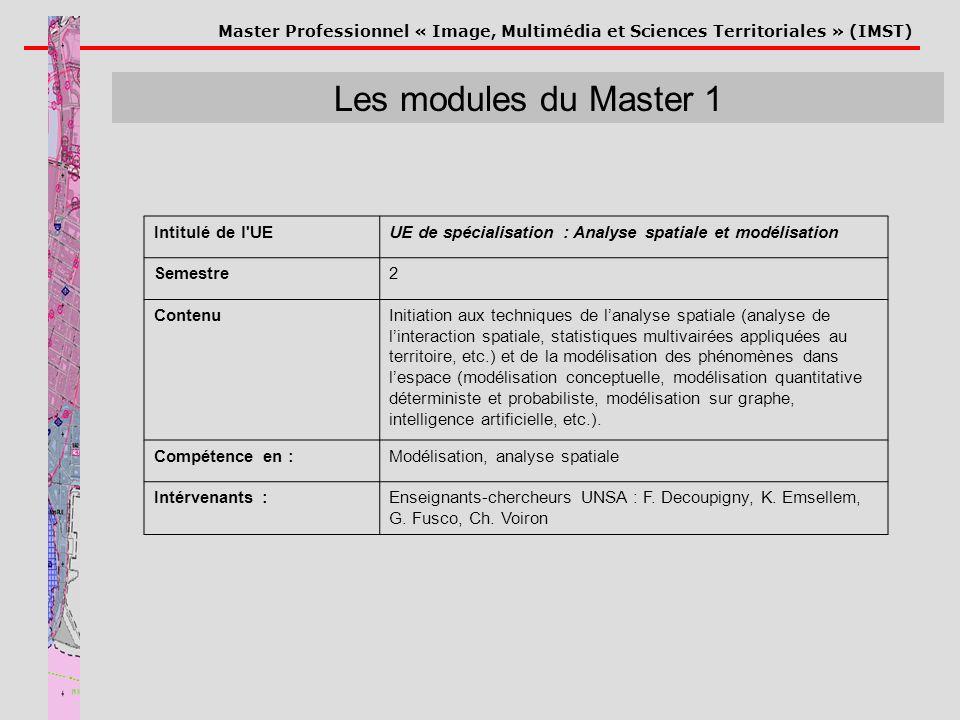 Master Professionnel « Image, Multimédia et Sciences Territoriales » (IMST) Les modules du Master 1 Intitulé de l'UEUE de spécialisation : Analyse spa
