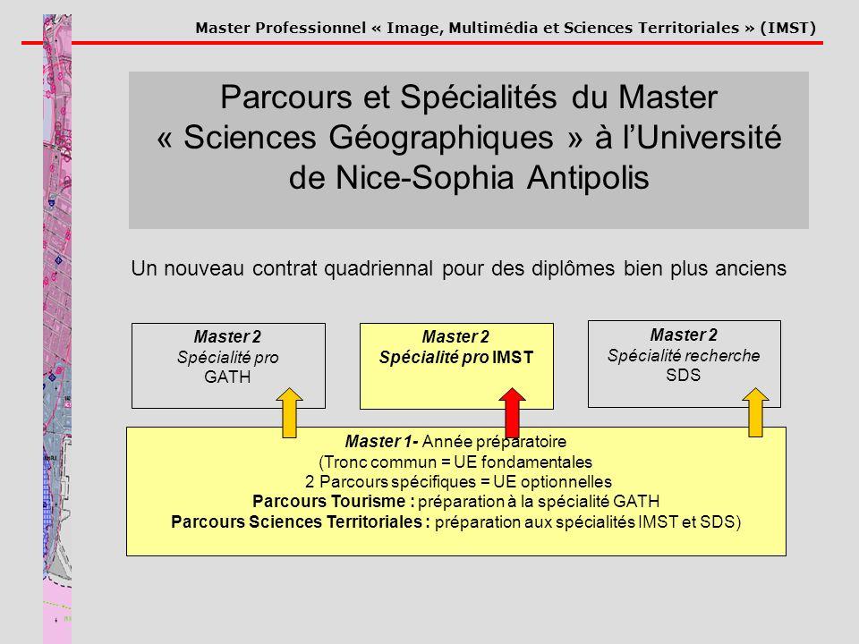 Master Professionnel « Image, Multimédia et Sciences Territoriales » (IMST) Master 1- Année préparatoire (Tronc commun = UE fondamentales 2 Parcours s