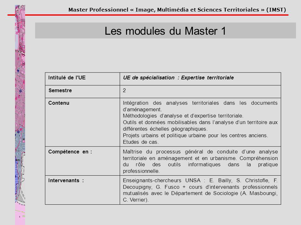 Master Professionnel « Image, Multimédia et Sciences Territoriales » (IMST) Les modules du Master 1 Intitulé de l'UEUE de spécialisation : Expertise t