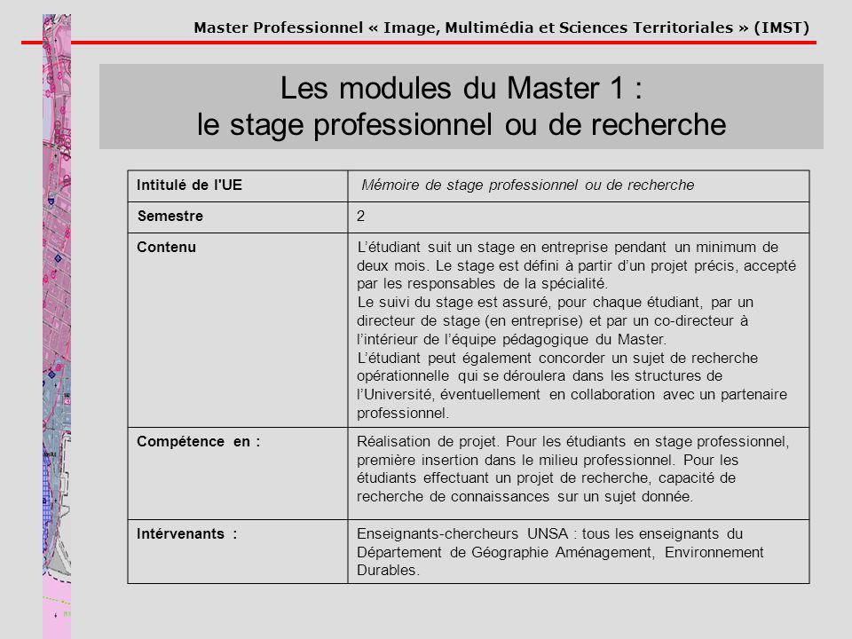 Master Professionnel « Image, Multimédia et Sciences Territoriales » (IMST) Les modules du Master 1 : le stage professionnel ou de recherche Intitulé