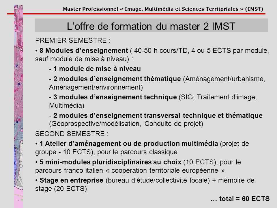 Master Professionnel « Image, Multimédia et Sciences Territoriales » (IMST) Loffre de formation du master 2 IMST PREMIER SEMESTRE : 8 Modules denseign