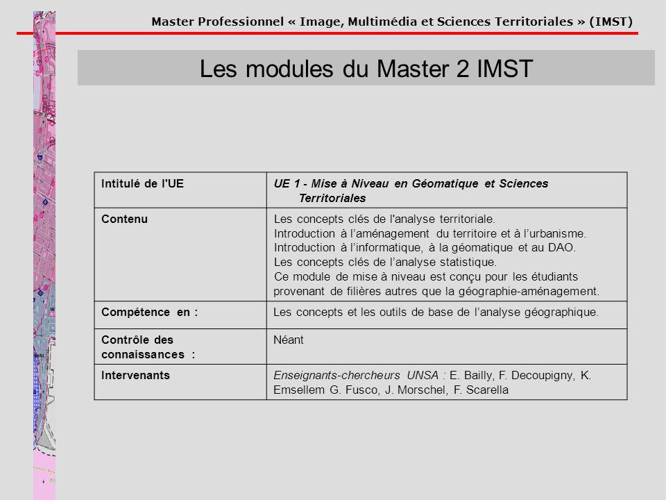 Master Professionnel « Image, Multimédia et Sciences Territoriales » (IMST) Les modules du Master 2 IMST Intitulé de l'UEUE 1 - Mise à Niveau en Géoma
