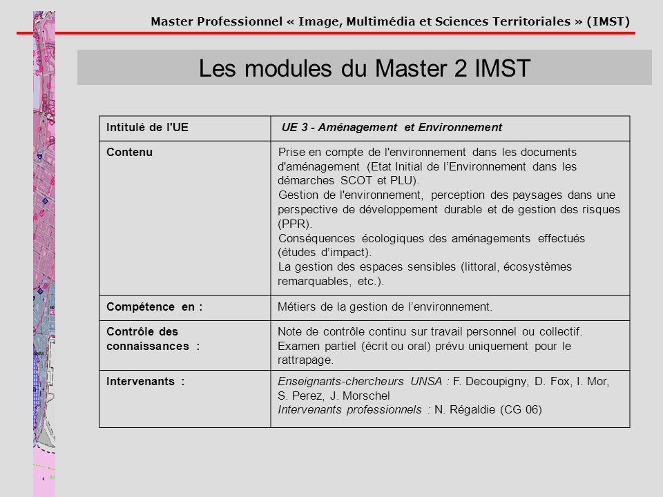 Master Professionnel « Image, Multimédia et Sciences Territoriales » (IMST) Les modules du Master 2 IMST Intitulé de l'UE UE 3 - Aménagement et Enviro