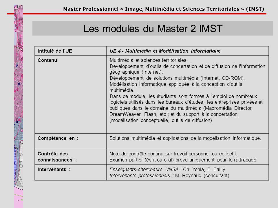 Master Professionnel « Image, Multimédia et Sciences Territoriales » (IMST) Les modules du Master 2 IMST Intitulé de l'UEUE 4 - Multimédia et Modélisa