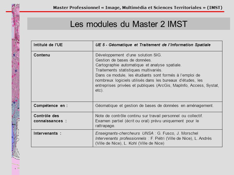 Master Professionnel « Image, Multimédia et Sciences Territoriales » (IMST) Les modules du Master 2 IMST Intitulé de l'UEUE 5 - Géomatique et Traiteme