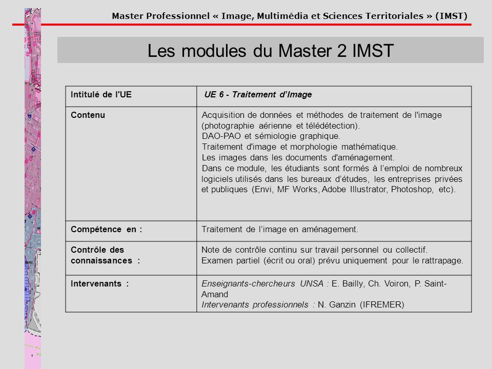Master Professionnel « Image, Multimédia et Sciences Territoriales » (IMST) Les modules du Master 2 IMST Intitulé de l'UE UE 6 - Traitement dImage Con
