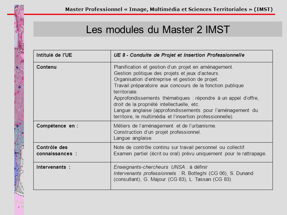 Master Professionnel « Image, Multimédia et Sciences Territoriales » (IMST) Les modules du Master 2 IMST Intitulé de l'UEUE 8 - Conduite de Projet et