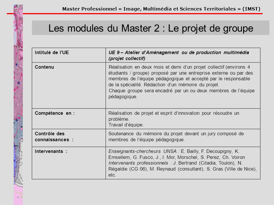 Master Professionnel « Image, Multimédia et Sciences Territoriales » (IMST) Les modules du Master 2 : Le projet de groupe Intitulé de l'UEUE 9 – Ateli