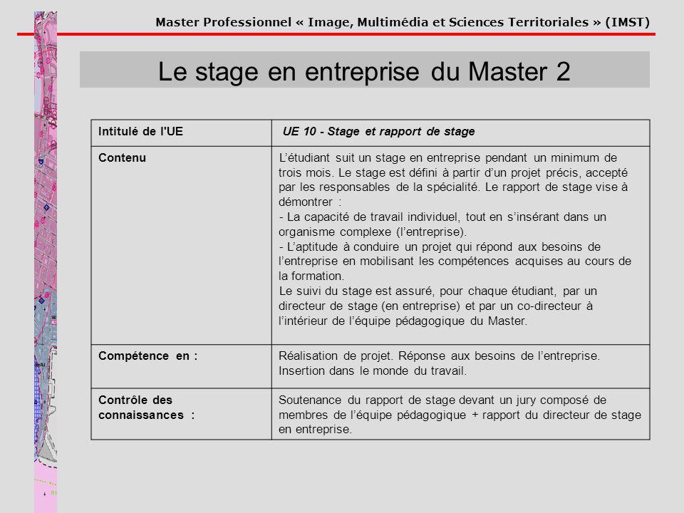 Master Professionnel « Image, Multimédia et Sciences Territoriales » (IMST) Le stage en entreprise du Master 2 Intitulé de l'UE UE 10 - Stage et rappo
