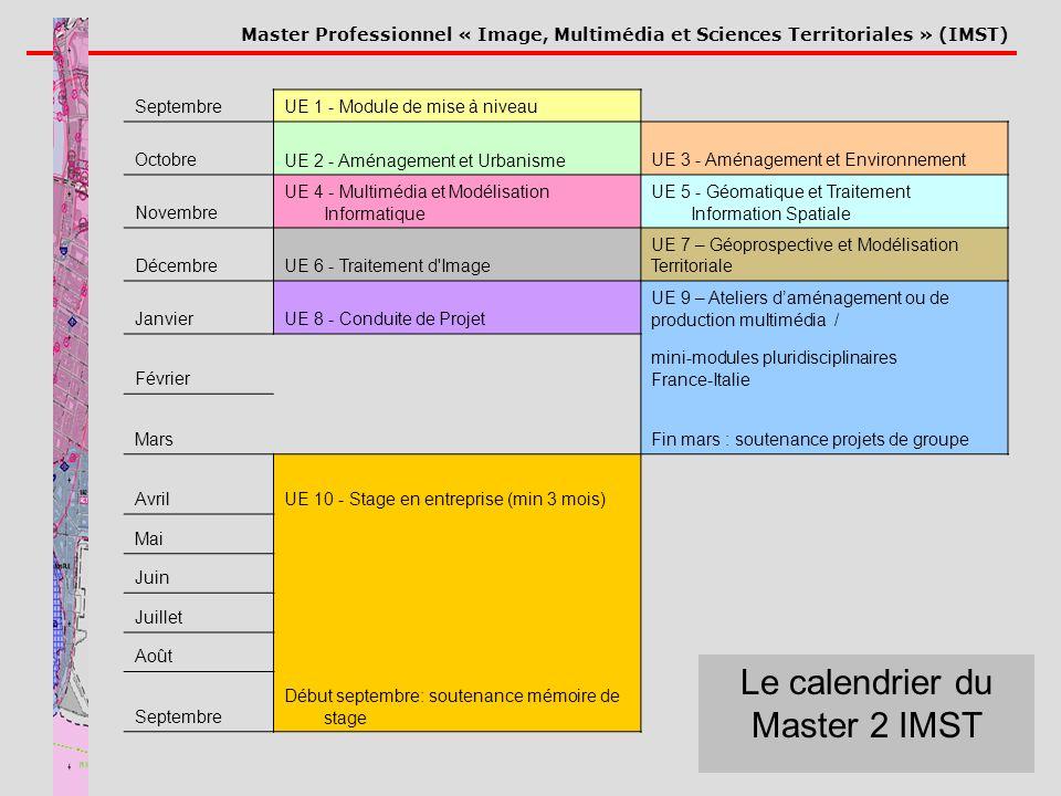 Master Professionnel « Image, Multimédia et Sciences Territoriales » (IMST) Le calendrier du Master 2 IMST SeptembreUE 1 - Module de mise à niveau Oct
