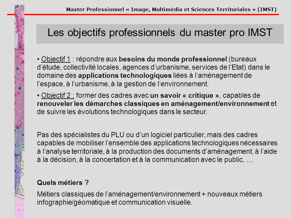 Master Professionnel « Image, Multimédia et Sciences Territoriales » (IMST) Les objectifs professionnels du master pro IMST Objectif 1 : répondre aux