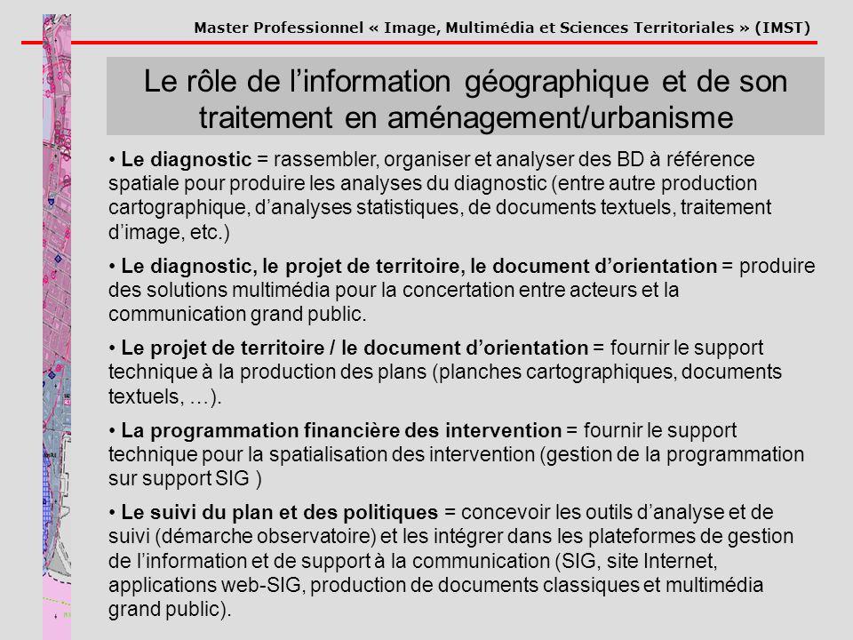 Master Professionnel « Image, Multimédia et Sciences Territoriales » (IMST) Le rôle de linformation géographique et de son traitement en aménagement/u