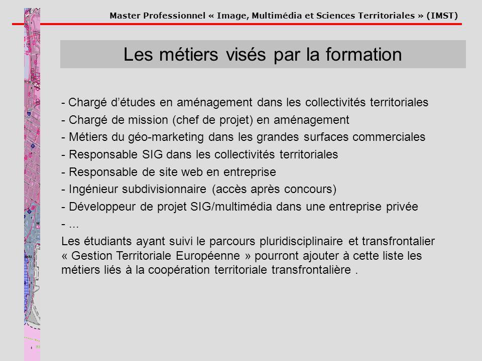 Master Professionnel « Image, Multimédia et Sciences Territoriales » (IMST) Les métiers visés par la formation - Chargé détudes en aménagement dans le