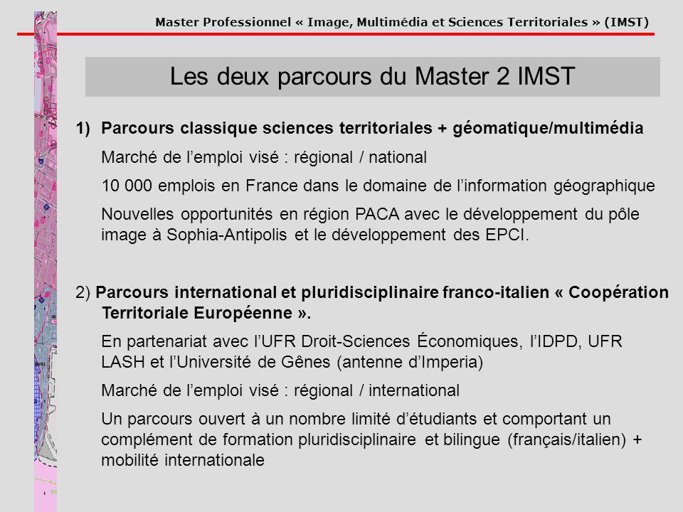 Master Professionnel « Image, Multimédia et Sciences Territoriales » (IMST) Les deux parcours du Master 2 IMST 1)Parcours classique sciences territori