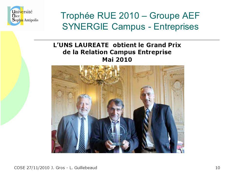 COSE 27/11/2010 J. Gros - L. Guillebeaud Trophée RUE 2010 – Groupe AEF SYNERGIE Campus - Entreprises LUNS LAUREATE obtient le Grand Prix de la Relatio