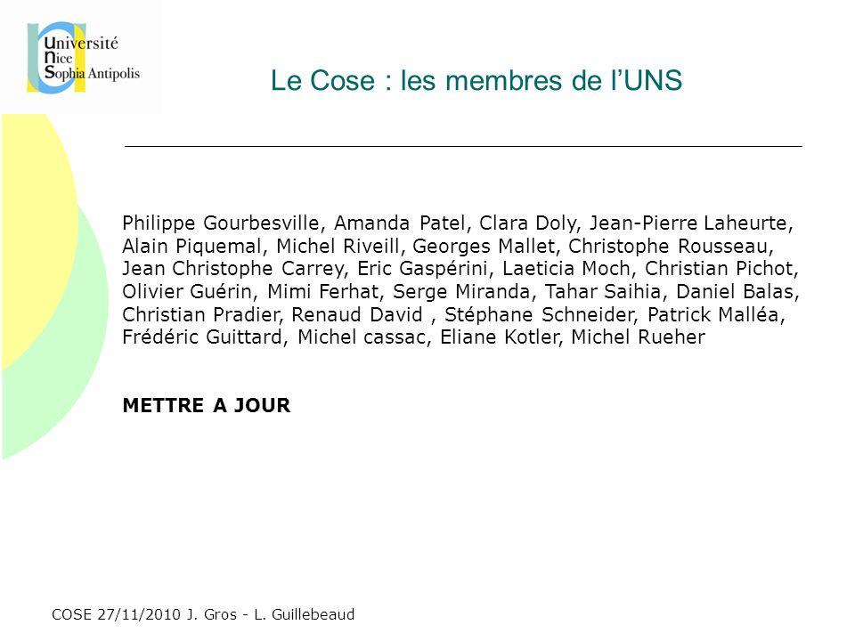 COSE 27/11/2010 J. Gros - L. Guillebeaud Le Cose : les membres de lUNS Philippe Gourbesville, Amanda Patel, Clara Doly, Jean-Pierre Laheurte, Alain Pi