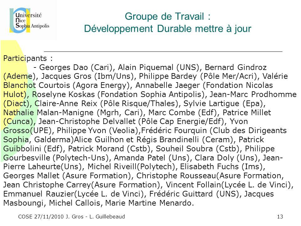 COSE 27/11/2010 J. Gros - L. Guillebeaud Groupe de Travail : Développement Durable mettre à jour Participants : - Georges Dao (Cari), Alain Piquemal (