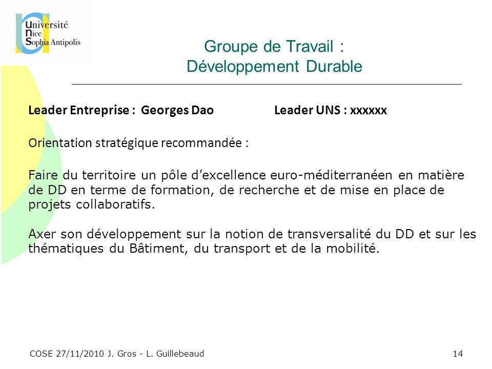 COSE 27/11/2010 J. Gros - L. Guillebeaud Groupe de Travail : Développement Durable Leader Entreprise : Georges DaoLeader UNS : xxxxxx Orientation stra