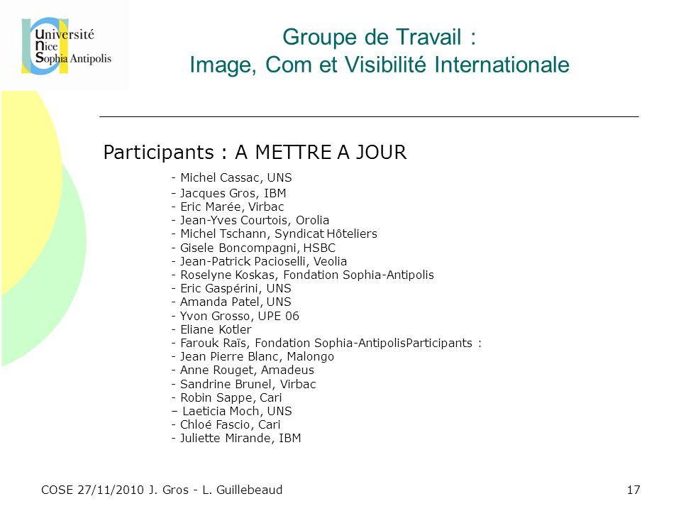 COSE 27/11/2010 J. Gros - L. Guillebeaud Groupe de Travail : Image, Com et Visibilité Internationale Participants : A METTRE A JOUR - Michel Cassac, U