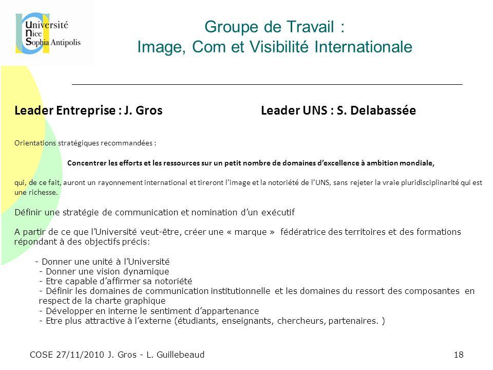 COSE 27/11/2010 J. Gros - L. Guillebeaud Groupe de Travail : Image, Com et Visibilité Internationale Leader Entreprise : J. GrosLeader UNS : S. Delaba