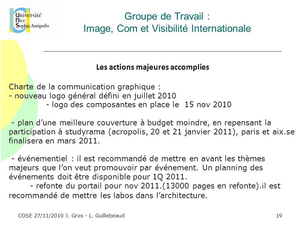 COSE 27/11/2010 J. Gros - L. Guillebeaud Groupe de Travail : Image, Com et Visibilité Internationale Les actions majeures accomplies Charte de la comm