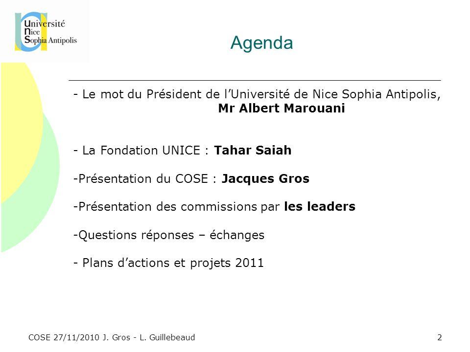 COSE 27/11/2010 J. Gros - L. Guillebeaud Agenda - Le mot du Président de lUniversité de Nice Sophia Antipolis, Mr Albert Marouani - La Fondation UNICE