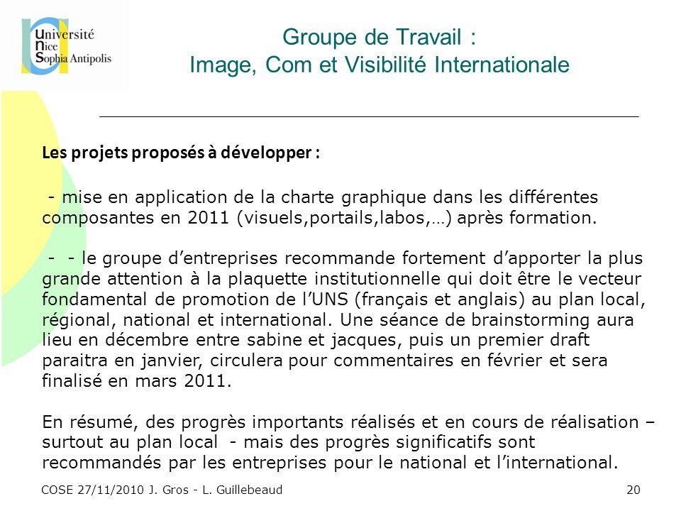 COSE 27/11/2010 J. Gros - L. Guillebeaud Groupe de Travail : Image, Com et Visibilité Internationale Les projets proposés à développer : - mise en app