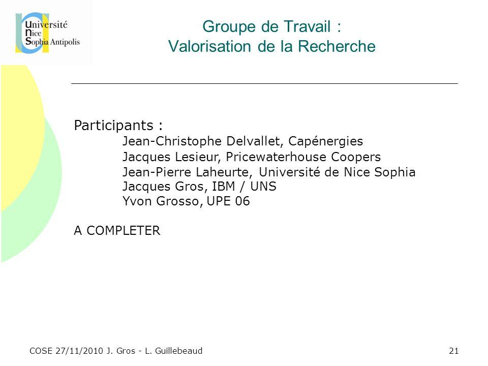 COSE 27/11/2010 J. Gros - L. Guillebeaud Groupe de Travail : Valorisation de la Recherche Participants : Jean-Christophe Delvallet, Capénergies Jacque